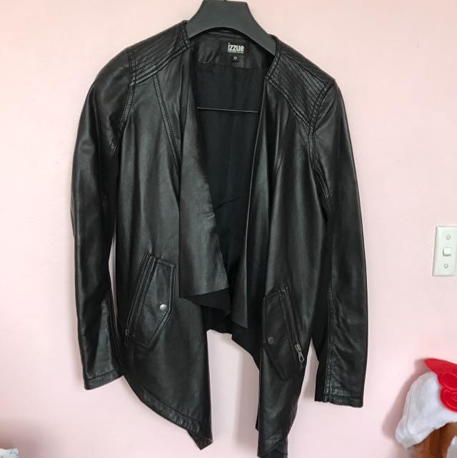 Drape Front Lamb Leather Jacket
