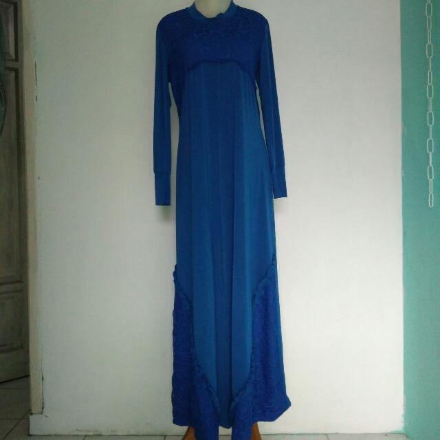 Dress Brukat Biru