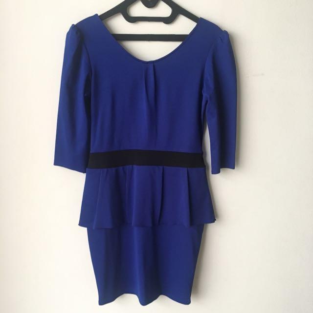 Dress Peplum Biru