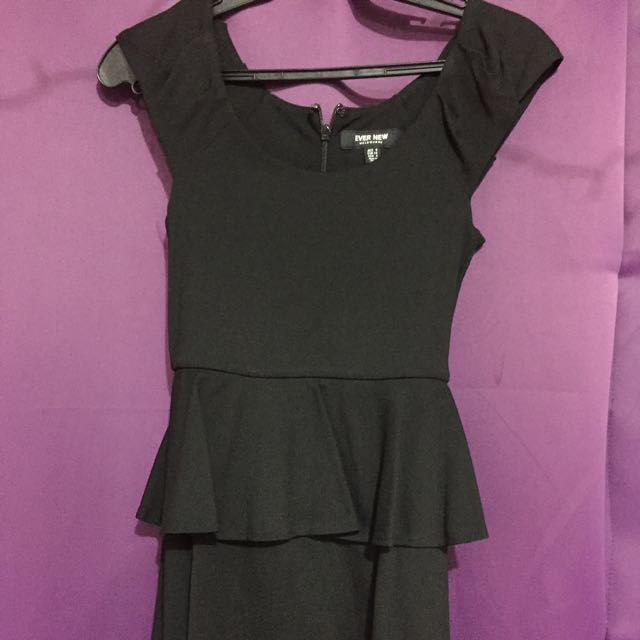 EverNew Peplum Dress Black