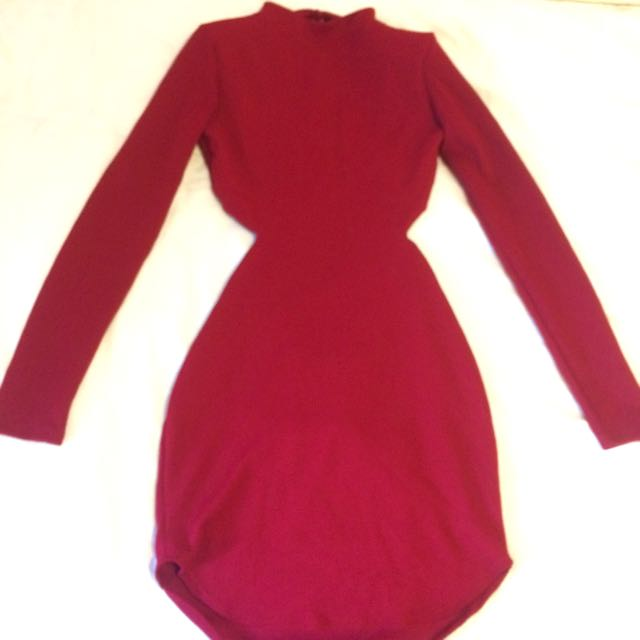 Fashion Nova Backless Burgundy Dress