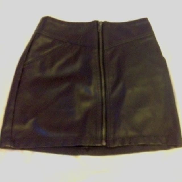 H&M Dark Brown Pleather Zipper Skirt