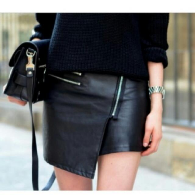 Sale! H&M Divided Pleather Assymetrical Skirt With Zip Details US 10