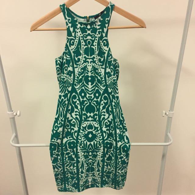 H&M Green Baroque Print Dress