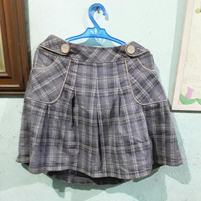 IORA Casual Korean Style Checkerd Skirt