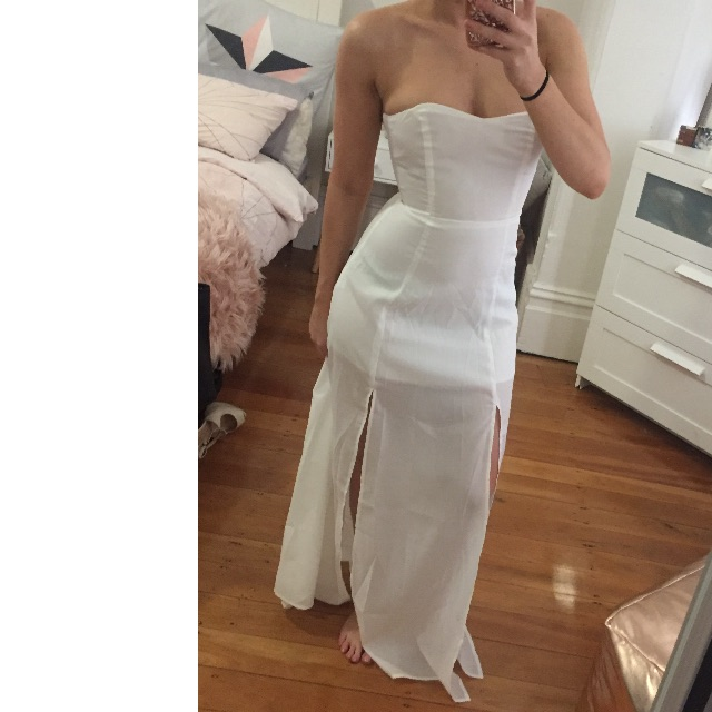 Lioness White Strapless Maxi Dress XS