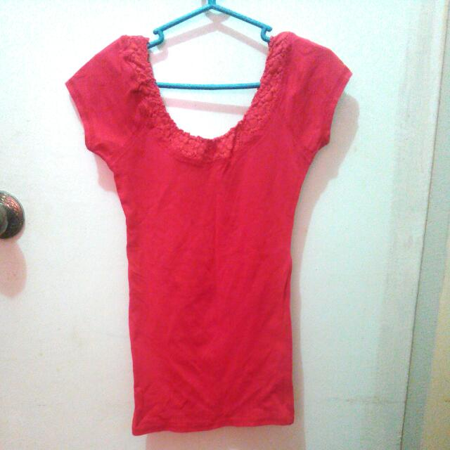 Long bodycon red blouse