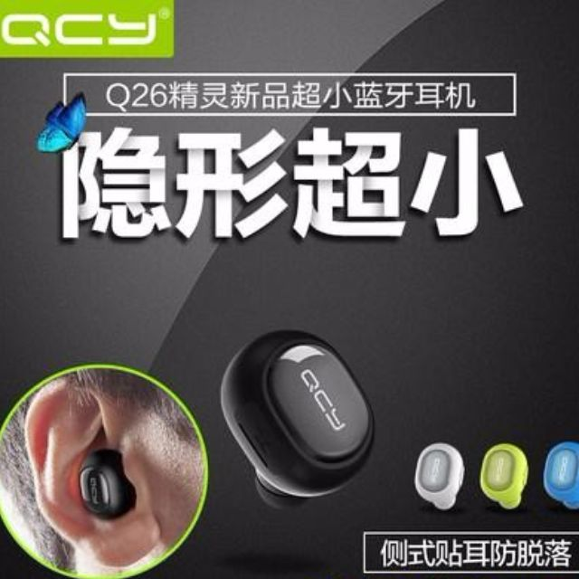 [Mini Bluetooth Earbud] QCY Wireless Invisible Headphones Headset With Mic, Hands-free Stereo noise canceling for iOS and Android -single ear