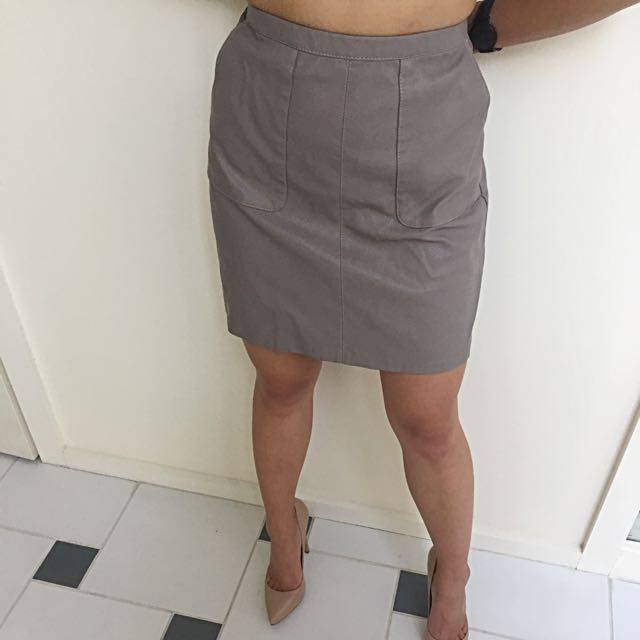 New Look A-line Taupe Faux Leather Mini Skirt AU 6