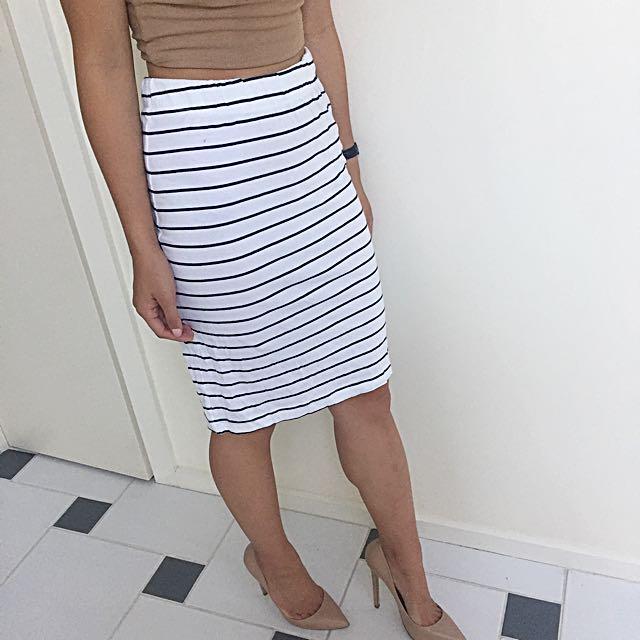 Noisy May Striped Midi Skirt XS