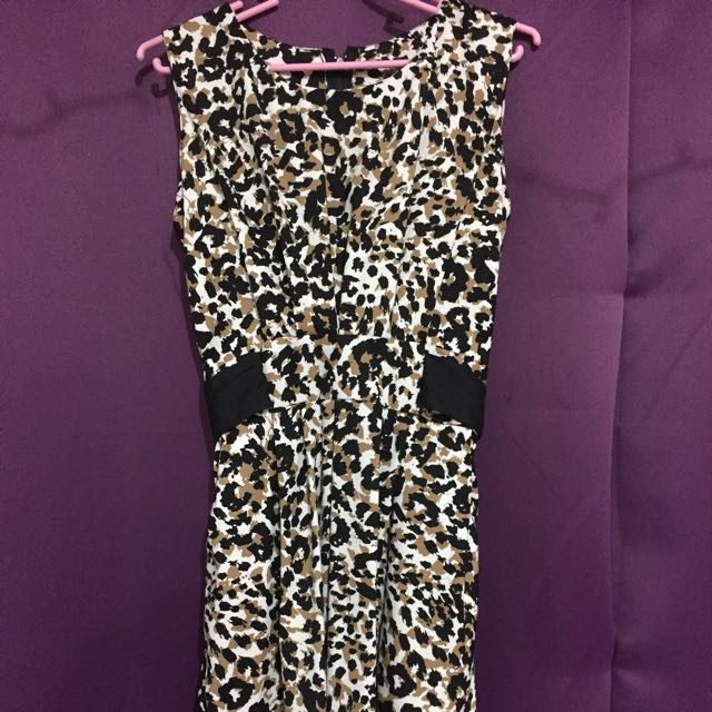 Print Dress Black And Cream