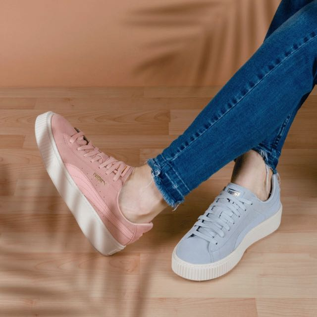 reputable site f3498 86d5f Puma Suede Creepers Platform In Pastel Pink / Halogen Blue ...