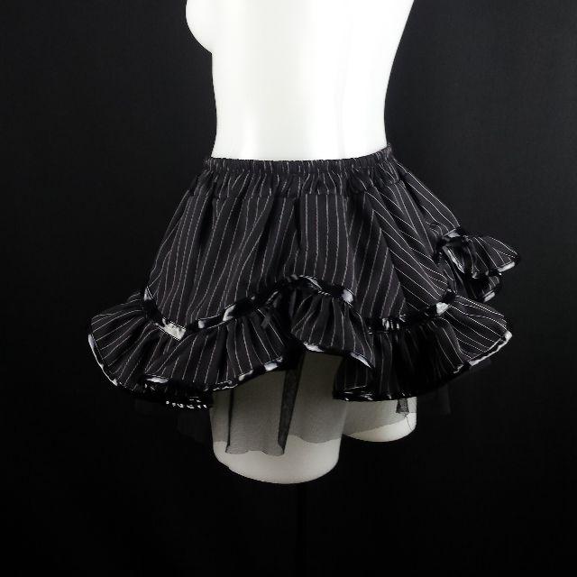 PVC lolita egl ruffle frilly goth victorian black pinstripe mini skirt 8 10 12