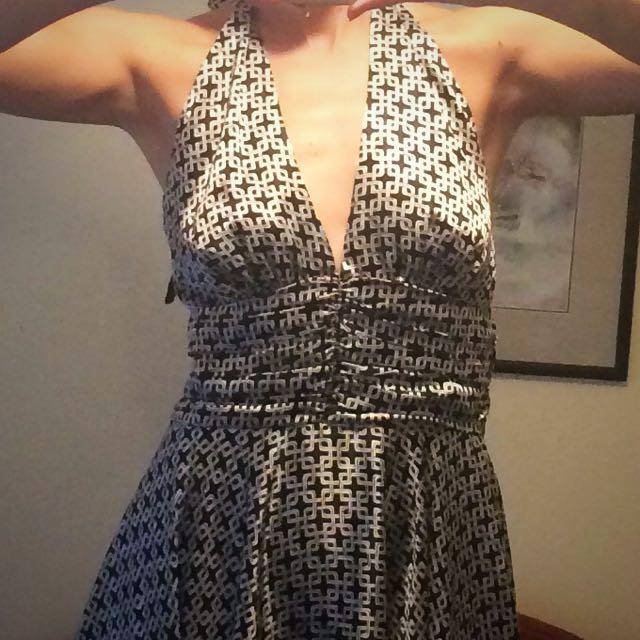 Retro Silver Halterneck Dress