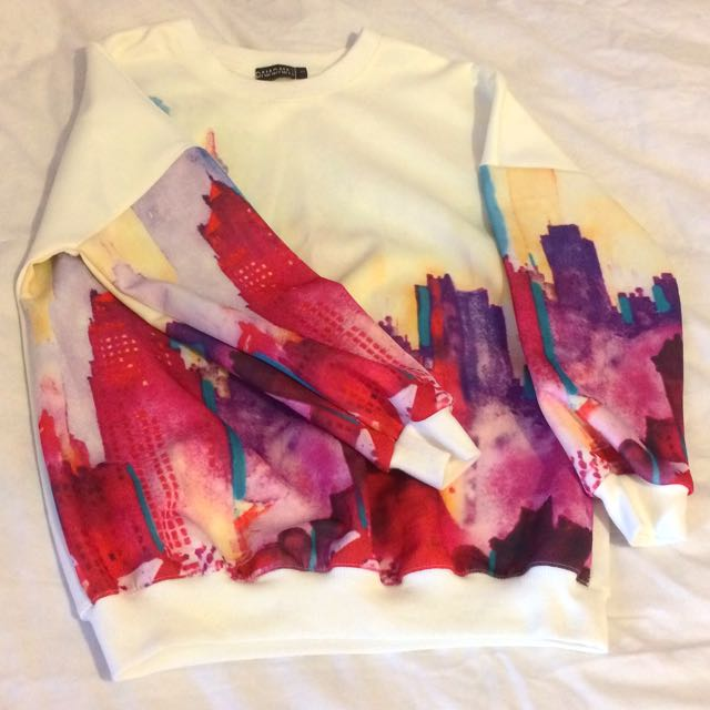 Romwe White Sweatshirt With Pattern