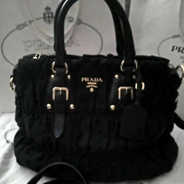 REPRICE Authentic Prada Tessuto Gaufre Ladies Handbag