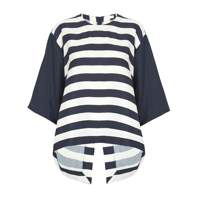 Sass And Bide Navy Stripe Oversize Back Slit Top