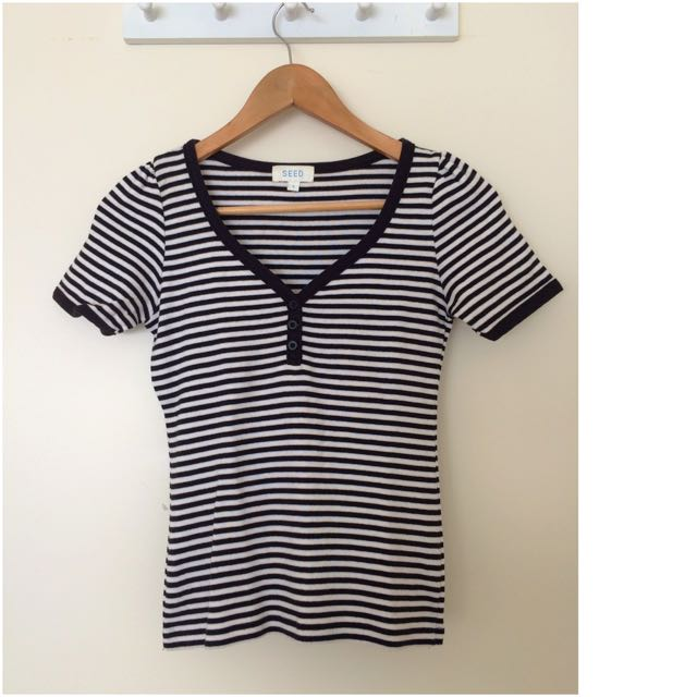 Seed Stripy Casual V Neck T-Shirt