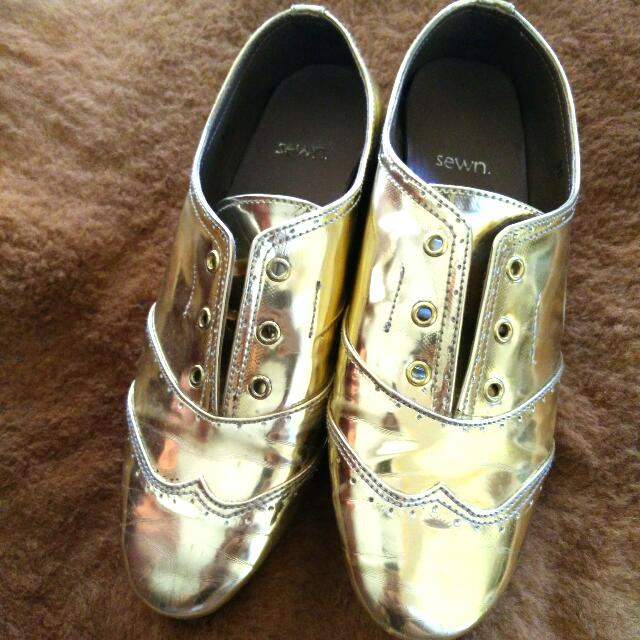 SEWN Gold Oxford Shoes