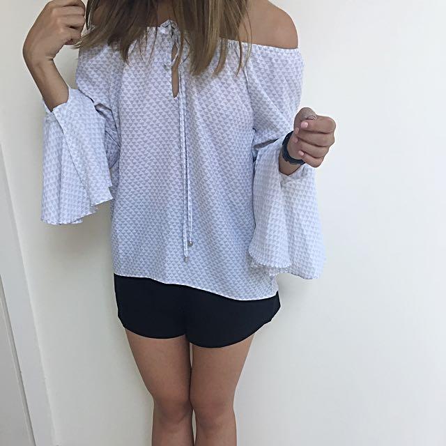 Sportsgirl White And Grey Grid Off Shoulder Top AU 6