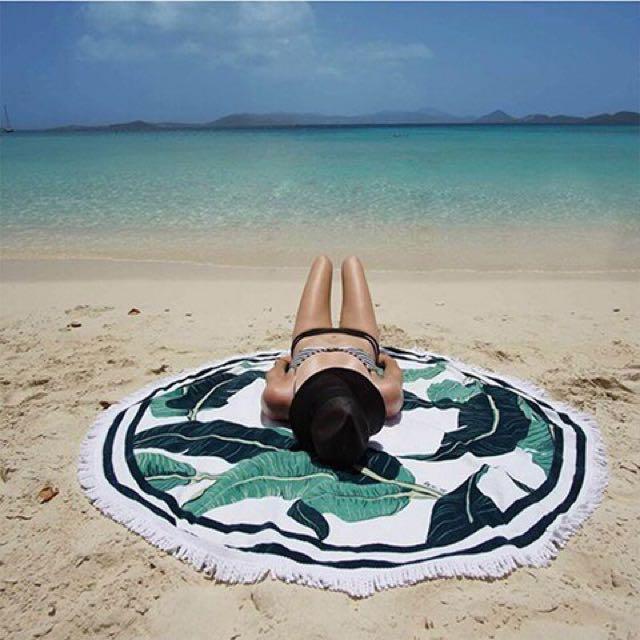 Te Amo 沙灘墊野餐墊圓形圖騰歐美披肩毯子海邊