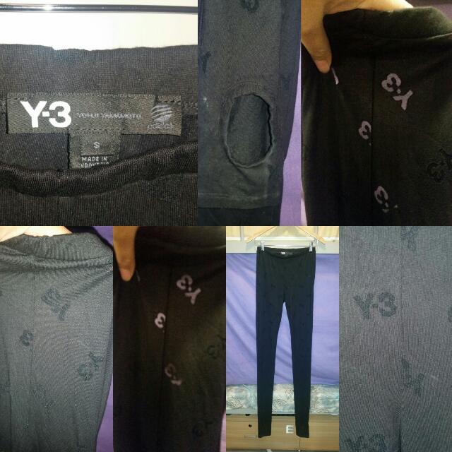 Y-3 Yohji Yamamoto Adidas Leggings With Sheer Y-3 Prints Size Small