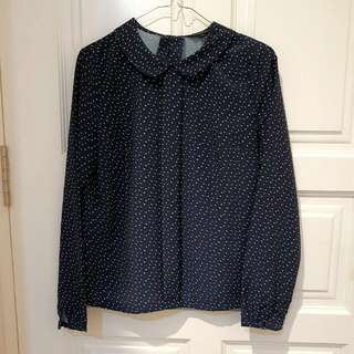 The Excecutive Collar Blouse (Navy)