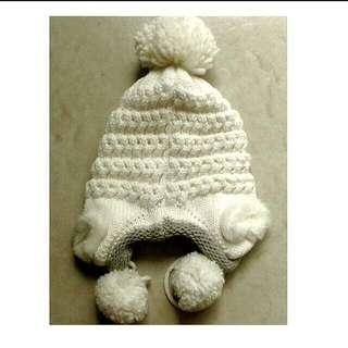 降價✨白色百搭可愛毛球毛帽