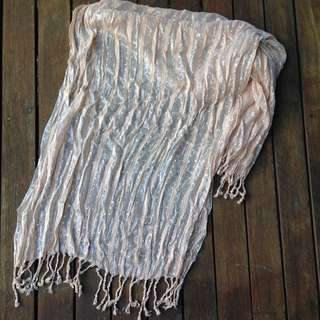 Large Pink/w Silver Tassel Scarf