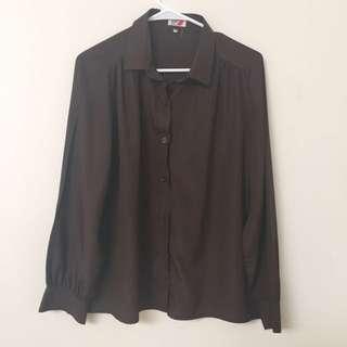 Vintage Rodier Of Paris Brown Long Sleeve Blouse