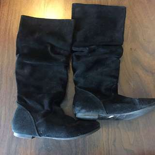 Size 8 Suede Boots With New Sole And Heel