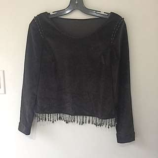 Black Velvet Beaded Top Sm