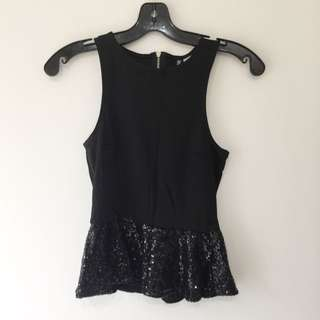 H&M Black Sequinned Halt her Top sz4
