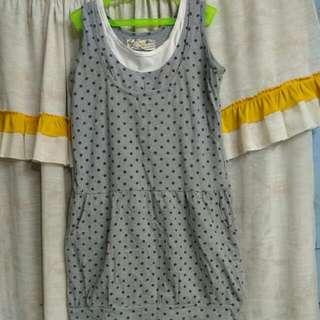 Gray Polka Dots Dress