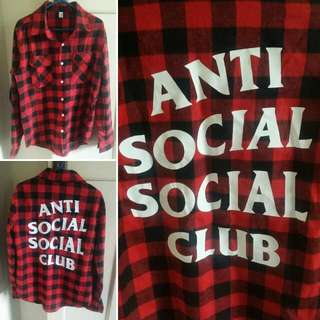 """ANTI SOCIAL SOCIAL CLUB"" RED CHECKERED BUTTON UP SHIRT BY YEEZY / KANYA WEST"