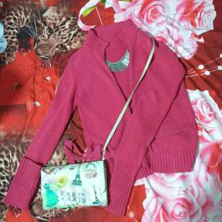 outer rajut maroon