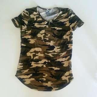 Army Printed Shirt Top 6 XS