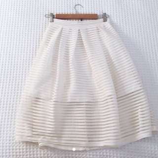 White Cut Out High Waisted Skirt - Size 8 - Brand New!