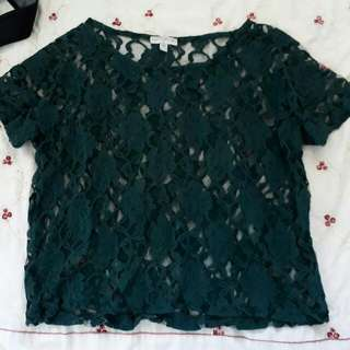 Lace Dark Green Top