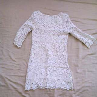 Mini White Korean Dress