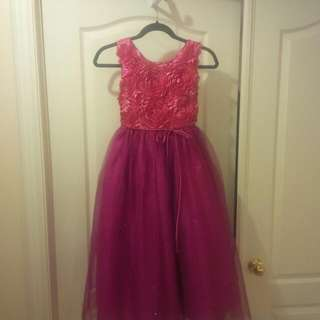 Girls Size 11/12 Rosette & Toulle Bottom Dress