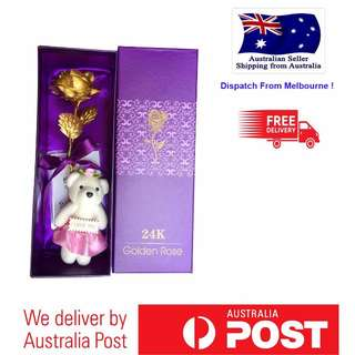 Genuine 24K Gold Rose HandCrafted For All Occasions w Teddy Bear w Gift Box