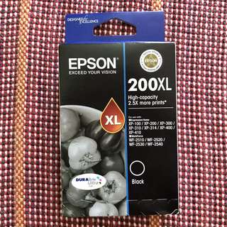 Black printer ink for Epson. 200XL.