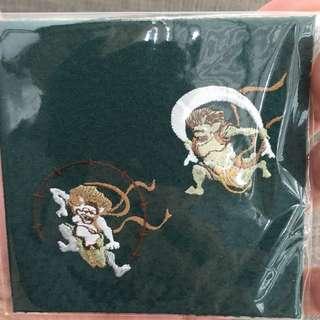 Japanese Coaster Embroidery Akuma Design