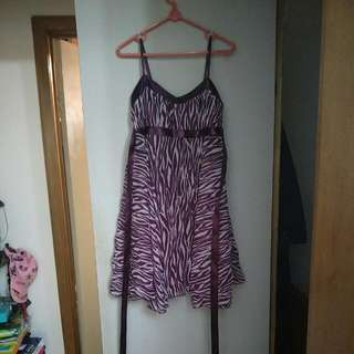 Purple Leopard Zebra Dress Size 10