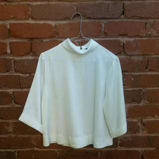 TOPSHOP White Blouse High Neck Size 6