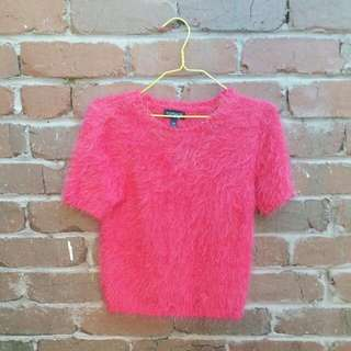 TOPSHOP Fluffy Cropped Red Knit Size 6