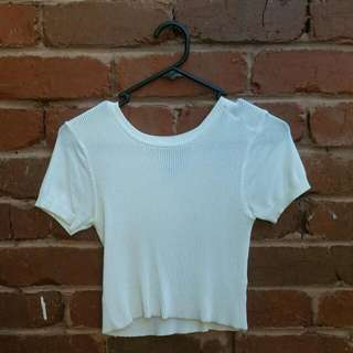 Alice In The Eve Ribbed White Crop Top Size 6