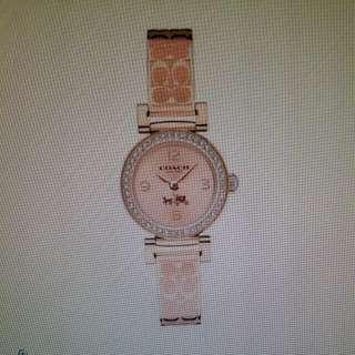 Coach Logo錶帶玫瑰金手錶