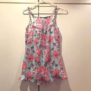 Princess Polly Blue Floral Playsuit Size 8